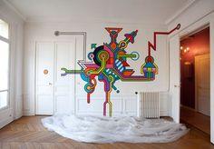 Dans un appartement parisien (photo : Atome) Seize : portrait of a Serial Happywallmaker - graffiti géométrique - BFK - Sarcelles - Reportages - Street-art et Graffiti | FatCap