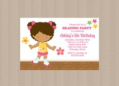 Roller Skating Birthday Party Invitation Girl by Honeyprint
