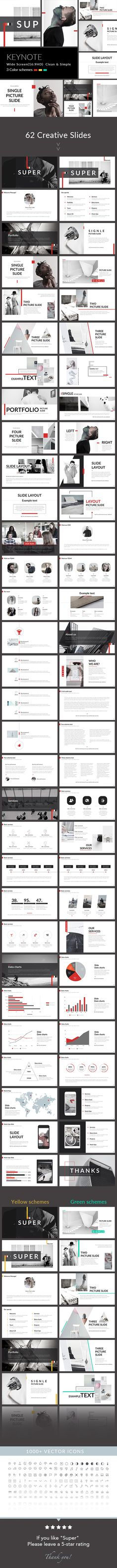 Super - Clean & Simple Keynote Template by General Description Wide Screen Size) Free Font Used 62 unique slides Creative Slides Easy Customize Latest Version of Ui Design, Keynote Design, Slide Design, Brochure Design, Layout Design, Powerpoint Design, Powerpoint Presentation Templates, Keynote Template, Creative Powerpoint