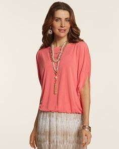 I love the pop of color and the unique style of this top! (Chico's Emerson Top #chicos)
