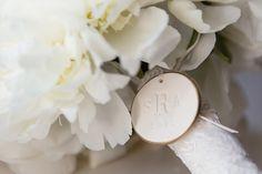 Beautiful white bouquet + monogram detail