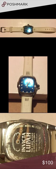 Invicta Grand Baby Lupah White/blue woman Watch Model no. 21328, stainless steel, rubber ban , woman's , like new Invicta Accessories Watches