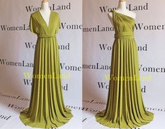 Chartreuse Pear Lemon-Olive New Fabric For Custom Handmade Infinity Wrapping Convertible Bridesmaid Floor Length Evening Gown Bespoke Dress
