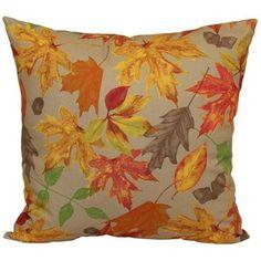 Harvest Autumn Leaves Outdoor Throw Pillow, Tan