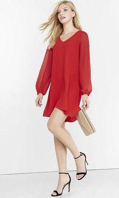 Red Poet Sleeve Hi-Lo Trapeze Dress