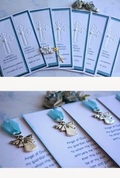 Baptism Cookies, Baptism Favors, Baptism Party, First Communion Cards, First Holy Communion, Communion Invitations, Baptism Invitations, Baby Boy Baptism, Christmas Ornament Crafts