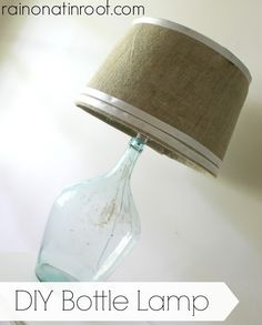 Who knew making a bottle lamp was so easy?  DIY Bottle Lamp {rainonatinroof.com} #bottle #lamp #DIY