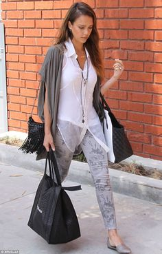 Silver screen siren: Jessica Alba, 32, heads to her office in Los Angeles on Monday wearing a muted outfit of black, white and grey