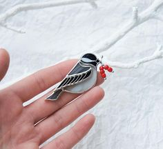 Stained Glass brooch Black Capped Chickadee Tiffany