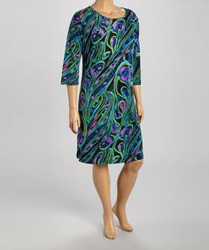This Teal & Black Color Swirl Shift Dress - Plus by DJ Summers is perfect! #zulilyfinds