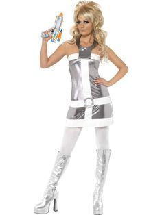space costumes women   60s Barbarella Style Costume - Silver & white mini dress has a sci-fi ...