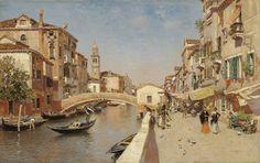 Río San Lorenzo con el campanario San Giorgio dei Greci, Venecia