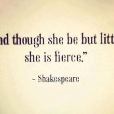 Oh, when she's angry, she is keen and shrewd!  She was a vixen when she went to school.  And though she be but little, she is fierce.      Can we just appreciate the whole quote, and realize this is not a good thing! -____-  #EnglishMajorProblems