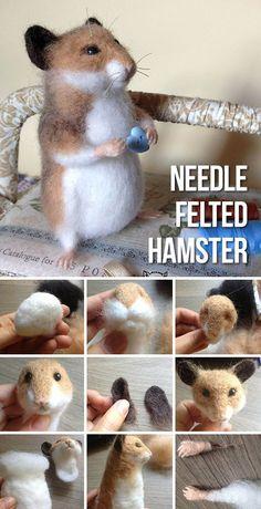 Needle felting tutorial: cute hamster / Делаем валяную игрушку в виде милого хомячка