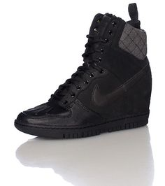 Or these even? NIKE Women's wedge sneaker boot Lace up closure Suede accents NIKE swoosh on sides . Waterproof H20 Repel material Cushioned inner sole for comfort. Dunk Sky Hi Sneakerboot 2.0
