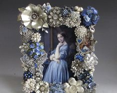 Vintage Jewelry Art Jeweled Picture Frame Sapphire Blue and Silver Woman in Blue Costume Jewelry Crafts, Vintage Jewelry Crafts, Vintage Costume Jewelry, Vintage Costumes, Antique Jewelry, Artisan Jewelry, Jewelry Frames, Jewelry Art, Fashion Jewelry