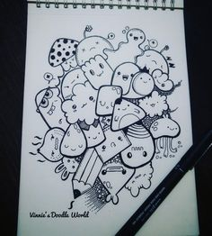 Cute Doodle Art, Doodle Art Designs, Doodle Art Drawing, Cute Cartoon Drawings, Art Drawings For Kids, Art Drawings Sketches, Kawaii Doodles, Cute Doodles, Vexx Art