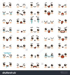 Kawaii cute smile emoticons and Japanese anime emoji faces expressions. Vector cartoon style comic sketch icons set