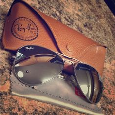 Authentic RayBan Aviators Authentic Raybans with mirror front. Like new only worn once no scratches. Originally bought for $185 Ray-Ban Accessories Glasses