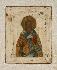 St Blaise from Triptych with Christ, St Basil the Great (?) and St Blaise (? © The Trustees of the British Museum Byzantine Art, Byzantine Icons, Saint Blaise, 12 Tribes Of Israel, St Basil's, Russian Icons, Biblical Art, Roman Art, Orthodox Icons