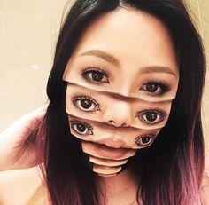 Dans la lignée des créations de la japonaise Hiraku Cho, voici aujourd'hui les étranges maquillages deMimi Choi, une artiste canadienne qui s'amuse à déc