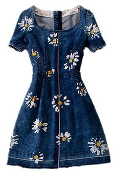 Blue Round Neck Short Sleeve Floral Denim Dress