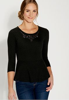 peplum top with rhinestone embellished neckline (original price, $34) available at #Maurices