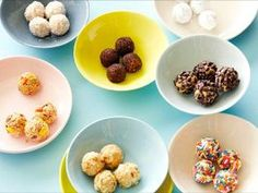 Peanut Butter Truffles : Peanut butter, sugar and butter are whipped into luscious truffle dough, then rolled in a variety of toppings and chilled to form these bite-size desserts perfect for holiday entertaining.