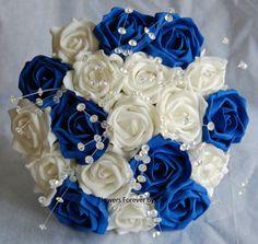 BRIDESMAID / BRIDES IVORY ROYAL BLUE / NAVY CRYSTAL WEDDING BOUQUET 8-9 WIDE