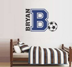 Boy Name Initial Soccer Sports Decal Vinyl Wall Lettering