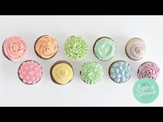 Learn 10 ways to frost cupcakes for eye catching and professional designs! All it takes is the right piping tips and these cupcake decorating techniques! Cupcake Frosting Techniques, Cupcake Decorating Techniques, Creative Cake Decorating, Frosting Tips, Decorating Ideas, Frosting Recipes, Fondant Flower Cake, Fondant Cupcakes, Fun Cupcakes
