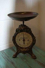 antique scale and GORGEOUS tabletop color