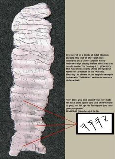 """Discovered in a tomb at Ketef Hinnom (Israel), this text of the Torah was inscribed on a silver scroll in Paleo-Hebrew script dating before the Dead Sea Scrolls to the 7th Century B.C. (600 BCE). The Paleo text clearly shows the Qodesh Name of YaHuWaH in the """"Aaronic Blessing"""" as shown here in English with """"YaHuWaH"""" written in modern Hebrew text:"""