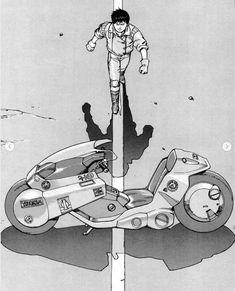 Manga Anime, Manga Art, Anime Guys, Manga Tattoo, Anime Tattoos, Illustration Manga, Illustrations, Kaneda Bike, Akira Kaneda