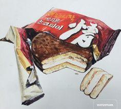 명덕창아♡,초코파이,chocolate pie Chocolates, Desserts, Objects, Drawings, Food, Design, Tailgate Desserts, Deserts, Chocolate