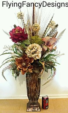 56 best tall silk floral arrangements images on pinterest in 2018 rustic western ranch tuscan silk feather floral flower arrangement in home garden mightylinksfo