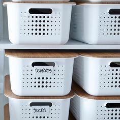 Storage Bin with Lid . Storage Bin with Lid . White nordic Storage Baskets with Handles with Images Shoe Storage Bins, Storage Bins With Lids, Decorative Storage Bins, Plastic Box Storage, Plastic Bins, Cube Storage, Storage Containers, Storage Boxes, Kitchen Storage