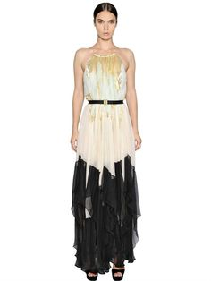 MARIA LUCIA HOHAN - PLISSE SILK CHIFFON & LUREX DRESS - LUISAVIAROMA - LUXURY SHOPPING WORLDWIDE SHIPPING - FLORENCE