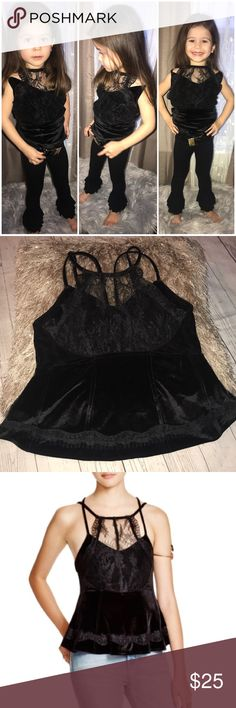 Beautiful Free People Velvet/Lace Tank My mini model (granddaughter 😍) is styling this gorgeous top peplum top, great for a night with the girls or that long overdue date night, velvet and lace, NWOT, never worn, New Free People Tops Tank Tops