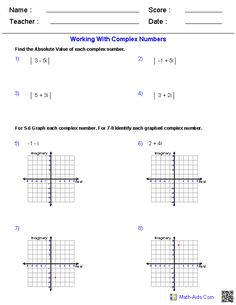 Complex Numbers Worksheets Algebra 2 Worksheets