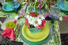 Big flower napkin rings- Mayday place setting thepainedapron.com