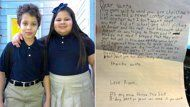 """8Yr Old Asks Santa to End Sister's Bullying- """"Dear Santa, I wanted a car and helicopter, but I don't want that any mor. Kid at school are still picking on Amber and its not fair because she doesnt do anything to them.I prayed that they will stop but god is bisy and needs your help.Is it against the rules to give gift early?"""" he wrote. """"I asked the kids if they had ever been bullied and Amber said, 'Sometimes I just wish I would die so that people would leave me alone.'"""""""