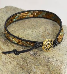 Tutorial - Lashed Wrap Bracelet with Half Tila® Beads, Leather Cord and Metal Button - Fire Mountain Gems and Beads