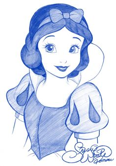 Snow White Walt Disney Princess Drawing by Pen - Drawing - . - The Trend Disney Cartoon 2019 Disney Princess Sketches, Walt Disney Princesses, Disney Sketches, Drawing Disney, Disney Princess Paintings, Disney Characters, Cinderella Drawing, Disney Princess Snow White, Snow White Disney