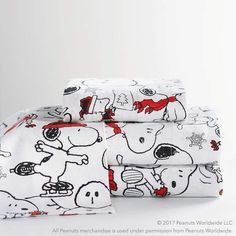 Snuggle up in cozy bed sheets that feature Snoopy® from Peanuts®. You'll love falling asleep each night in sheets with Charles Schultz's famous illustrations. Plus, it's GOTS Certified, the gold standard of organic textiles, so you…