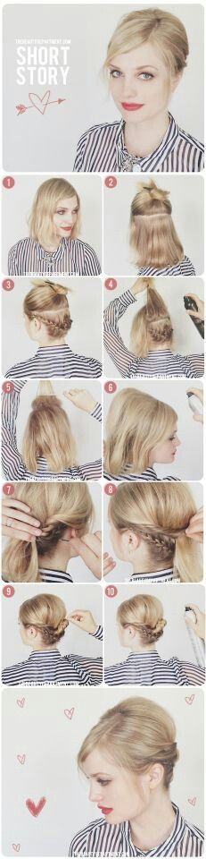 Coiffure / Cheveux - Medium hair updo (it says short hair. but the model's hair is almost to het shoulders) # Cheveux Summer Hairstyles, Up Hairstyles, Pretty Hairstyles, Wedding Hairstyles, Straight Hairstyles, Short Haircuts, Hairstyle Ideas, Female Hairstyles, Popular Haircuts