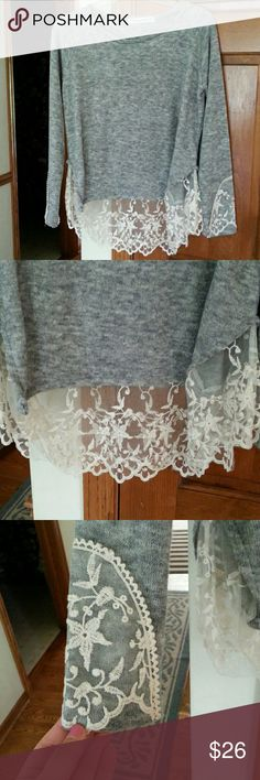 Lightweight Grey Sweater with Lace Detail Lace detail on bottom and on bottom of sleeves. Never worn.  Make me an offer!  Sweaters Crew & Scoop Necks