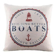 Nautical Boats Cotton/Linen Decorative Pillow Cover - USD $20.99