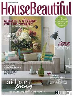 Readly - House Beautiful - UK - 123 - One of the UK's biggest and best-loved homes brands, House Beautiful provides real-life inspiration, exper House Beautiful, Beautiful Homes, Tove Love, Living Room Plan, Backyard Garden Landscape, Modern Fireplace, Contemporary Sofa, November 2019, Winter Garden