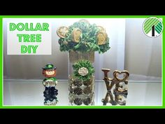 DOLLAR TREE  DIY 2017 | St. Patrick's Day Floral Coin Arrangement Home Decor St. Patty's Day Craft - YouTube